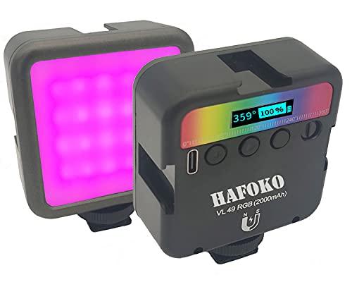 HAFOKO VL49 Mini RGB LED Luce Camera Video Light Telecamera Color w 3 Cold Shoe 1/4' Vlogging Smartphone Vlog Luce Magnetica w Display LCD 2000mah 2500K-9000K compatibile con Fotocamera Tiktok Youtube