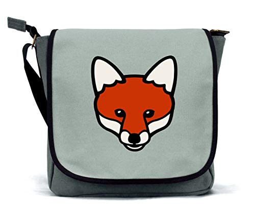 Fox Messenger Bag/Satchel | Grey | Waterproof Canvas | By Clumsy Hooves