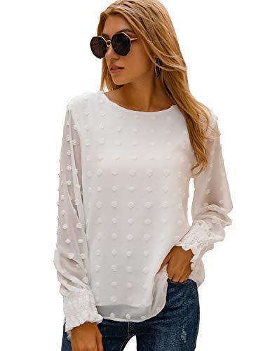 Blooming Jelly Womens Chiffon Blouses Elegant Lantern Long Sleeve Round Neck Top Pom Pom Shirt(Large,White)