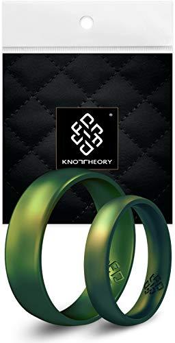 Knot Theory Anillo de silicona para hombres - de ajuste cómodo Northern Lights Tamaño 8 (6 mm)