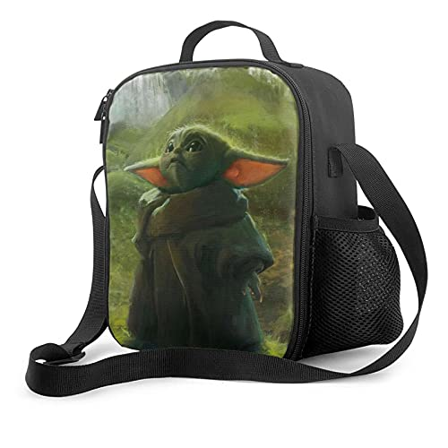 Baby Yoda Fashion Lunch, Picnic Bag Reusable Leakproof Lunch Box Tote for Work Outdoor Travel Picnic.