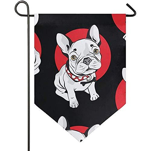 jenny-shop Französische Bulldogge Schwarz Roter Kreis Nette Cartoon Welpen Garten Flagge Doppelseitig 12,5 x 18 Zoll