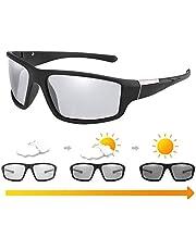 Tixiyu Fotochromowe okulary przeciwsłoneczne męskie antyodblaskowe ochrona UV400 na zewnątrz sportowe okulary przeciwsłoneczne na dzień i w nocy jazda na rowerze narciarstwo golf bieganie kolarstwo wędkarstwo
