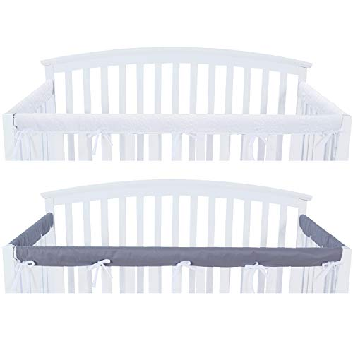 3 - Piece Crib Rail Cover Protector Safe Teething Guard Wrap for Standard Crib Rails, Fit Side and Front Rails, Grey/White, Reversible, Safe and Secure Crib Rail Cover.