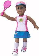 "MangoPeaches 18"" Doll Tennis OUFIT - 8 Pc Deluxe Set - Racket - Shoes - viser - Racket Bag - Shorts - Skirt -Tennis top -Great Value Pack!!"