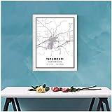Chihie Mapa de Tucumcari, póster Impreso, Lienzo, Mapa de Calles de Nuevo México, Mapa de la Ciudad de Tucumcari, póster Impreso, lienzo-60X90cm sin Marco