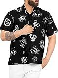 LA LEELA Casual Camisa de Hombre Hawaiana Manga Corta Bolsillo Delantero Playa Vintage Piratas Skeleton Esqueleto Calabaza Skulls Cráneo Cosplay Disfraces De Fiesta De Halloween Costume Negro_W188 L