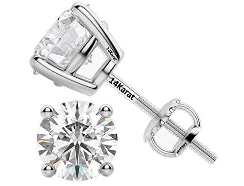 CDC CVD Diamond stud Earrings (Lab Grown Diamonds) 14K White Gold-0.25-1/4ct (.23 to.28pts) G-H color VS-SI