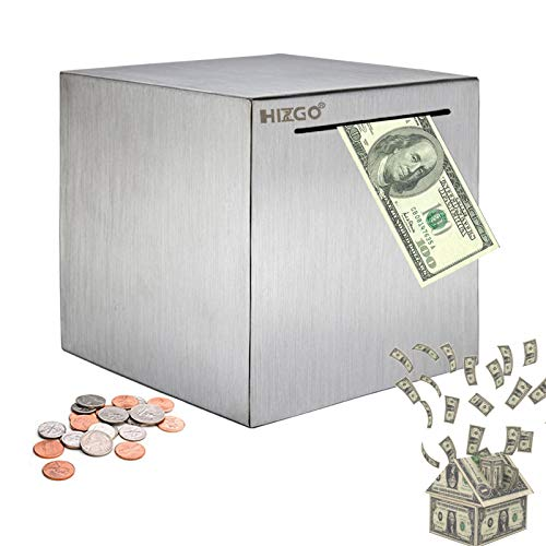 Hizgo Piggy Bank for Adults Stainless Steel Savings Bank to Help Budget and Save Must Break to Access Money(4.72 inch)