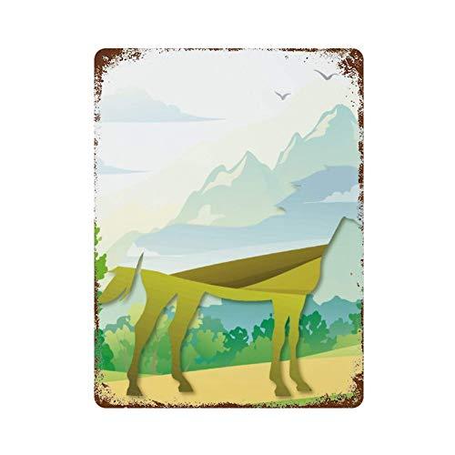 HOUJIA ZHONGMOU Abstractnatural paisaje de caballo vintage metal estaño signo hombre cuevas barras hogar oficina cocina restaurantes cafés decoración de pared 30 x 20 cm