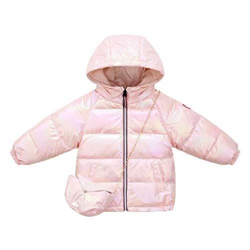 WAOTIER Chaqueta con capucha para niños de 6 meses a 6 años de edad, para niños y niñas, invierno, reflectante, chaqueta con cremallera y 1 bolsa de hombro Rosa. 100 cm