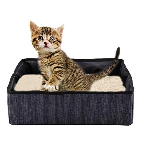 HEEPDD Katze Faltbare Katzenklo Faltbare Wasserdichte Stoff Welle Punkt Druck Haustier Katzenstreu Pan für Reisen Außen Camping Heimgebrauch 40 x 30 x 13 cm (Schwarz)