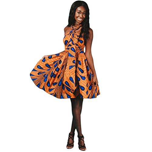 Damen Frauen Afrikanisches Kleid Ethnischer Stil Multi-tragen Jahrgang Abendkleid Multiway Kurzes Kleider Elegantes Sommer Verbandkleid Strandkleid Cocktailkleid Partykleid Mehrfarbig 36