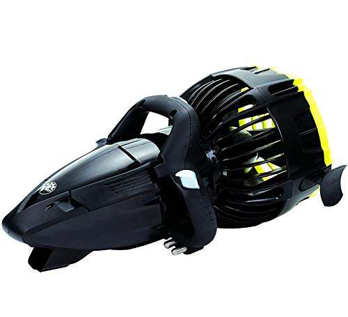 Onderwaterscooter | Professionele Duikserie | Onderwaterscooter | Automatisch Drijfsysteem | Ontworpen voor Zout Water | Klasse Vermogen en 3 Snelheden. (Metallic Zwart/Geel)
