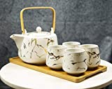 Ebros Gift Contemporary Minimalist Faux Marble Finish With Gold Veins Design Ceramic 37oz Tea Pot and Cups With Bamboo Serving Tray Set Service 4 People Zen Home Decor Teapots Accent (Matte White)