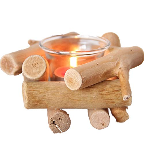 likemybaby Wooden Driftwood Candlestick Glass Creative Decoration, Handmade Wooden Tealight Candle Holder with Glass Cup Rustic Country Style