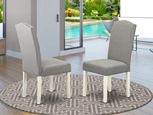 East West Furniture Padded Parson Chair - Comfortable Shitake Linen Fabric, Hardwood Linen White Finish Legs Modern Chairs for Dining Room - Set of Two