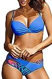 Voqeen Conjunto de Bikini Push Up Traje De Baño Mujer Sexy Bañador de Baño Sujetador Acolchado Bikini para Mujeres Ropa de Dos Piezas (Azul, S)