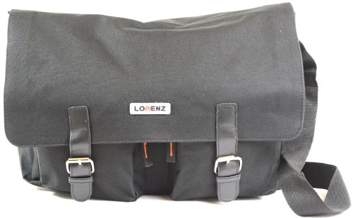 Large Canvas Style Messenger / Cross Body / Shoulder Work School Travel Satchel - Black