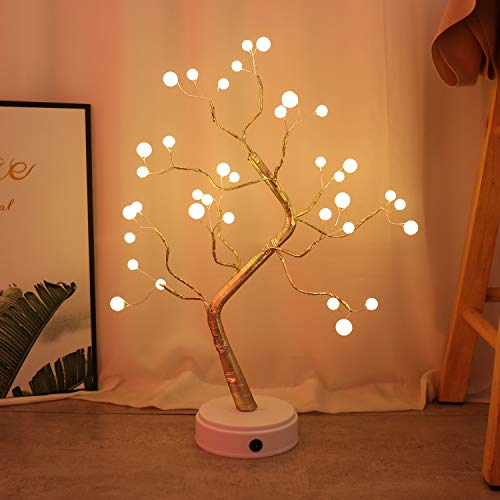 KHTO DIY Led Desk Tree Lamp, Desk Table Decor 36 Pearl LED Lights for Home,Bedroom, Indoor,Wedding Party,Decoration Touch Switch Battery Powered or USB Adapter