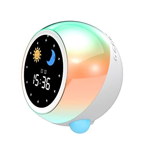 Kinder Wecker Dual-Wecker können mit Bluetooth verbunden Werden Digitaluhr Kinder Schlaftrainer Schlaf Sound Maschine Wecklicht & Nachtlicht Nachttischuhr Kinder Tag & Nacht beibringen