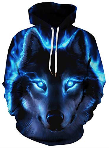Unisex Realistic 3D Printed Ghost Wolf Cool Stylish Sweatshirt Rave Hoodie for Men Women