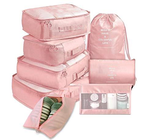 WUHUAROU Cubos de Embalaje de Viaje, multifunción 8 unids/Set Cubos de Viaje Organizador de Equipaje Maleta de compresión de Viaje Bolsa de Viaje Bolsa Esencial (Color : Pink)
