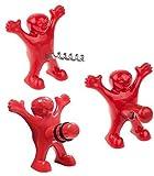 NOBRAND - Juego de tapones y abrebotellas de vino y abrebotellas de vino, tres bonitos hombres de abrebotellas de color rojo y negro incluidos, sacacorchos y tapón para hombres y mujeres (rojo)