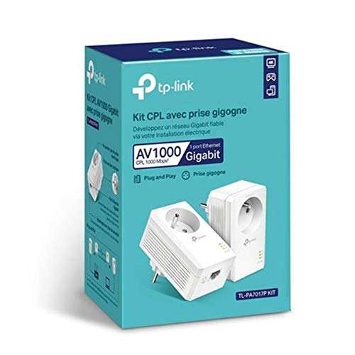 TP-Link CPL 1000 Mbps, Toma CPL con 1 Puerto Gigabit y Enchufe Integrado, Caja CPL Kit de 2 - Ideal para Disfrutar del Servicio multiTV en casa TL-PA7017P Kit(FR)