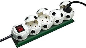 Steckdosenleiste Fußball (4 Steckdosen mit Deckel im Fußball-Design)