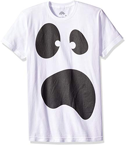 Silly Ghost Face | Spooky Halloween Ghoul Face Easy Costume Unisex T-Shirt-Adult,XL White