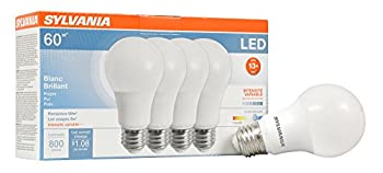 Sylvania Home Lighting 78038 A19 Sylvania Ultra 60W Equivalent LED Light Bulb Dimmable 60W Equivalent  Efficient 9W  Bright White 3500K  4 Piece