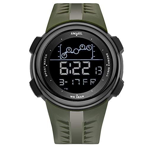 SMAEL Reloj Digital para Hombre 50M Impermeable Deportivo Relojes De Pulsera Prueba para Hombre, Reloj Militar Negro LED con Alarma Luminoso Alarma Cronógrafo Bluetooth,Army Green
