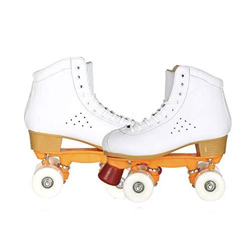 Lederen Hoge Help White Four Wheel Skates Mannen en Vrouwen Volwassen Dubbele rij Skates Roller Skates Kids Mengheyuan (Size : 38)