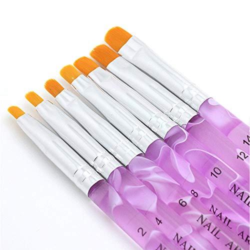 Pinceau nail art pour gel UV et acrylique, 7 pièces pinceau nail art ongles,7 Tailles pinceau ongle gel