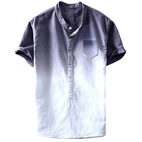 Yowablo Herren Linen Tropical Hawaiian Shirt Cooles und dünnes atmungsaktives Kragen-hängendes gefärbtes Baumwollhemd der Sommermänner (XL,3Grau)