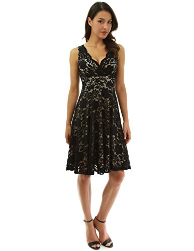 PattyBoutik Women Floral Lace Overlay Fit and Flare Dress (Black and Beige Medium)