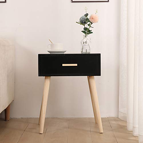 Vanimeu Retro Black Bedside Table End Side Table with Drawers for Bedroom Living Room (Black 1 Drawer)