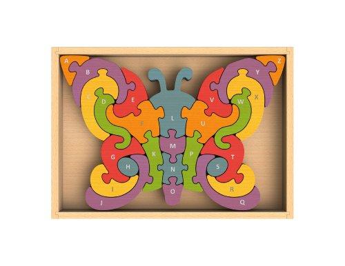 BeginAgain Puzzle de Mariposa A a Z – Puzzle Educativo de Madera del Alfabeto – niños 2 en adelante