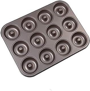 YNC Donut Baking Pan, 12 Cavity Doughnut Pan, Nonstick Bagel and Cake Pan (Gray)