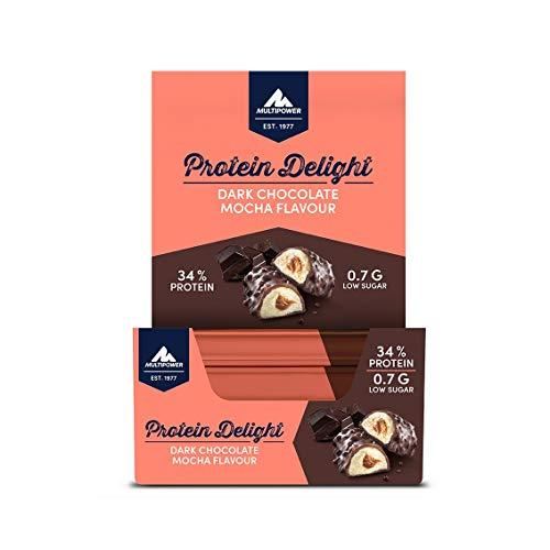 Multipower Protein Delight Eiweißriegel – 18 x 35 g Protein Riegel Box (630 g) – Leckerer Energieriegel – Dark Chocolate Mocha