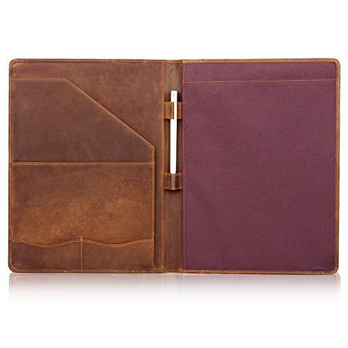 Jack&Chris Genuine Leather Portfolio A4 Document Folder Padfolio Folder Portfolio Organizer Resume Portfolio Binder for Men&Women,JC1823 (Light Brown)