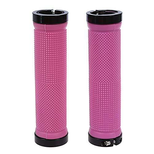 WLLYP Double Road Mountain MTB BMx Bike Cycle Bicycle Lock on Locking Handlebar Grips - Pink (Color : Pink)