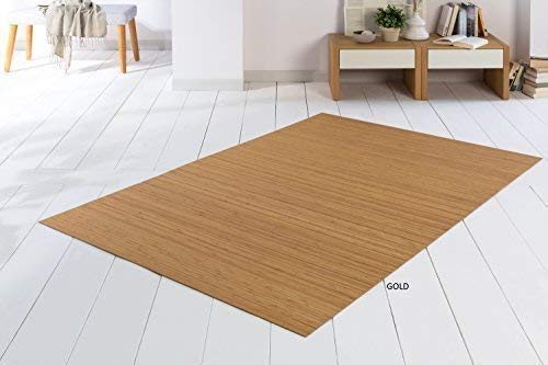DE-COmmerce Bambusteppich SOLID Gold 60x300 cm extra breite 50mm Stege I die Neue Generation Bambusteppich I kein Bordürenteppich I Teppich I Wohnzimmer I Küche I I Made IN Germany