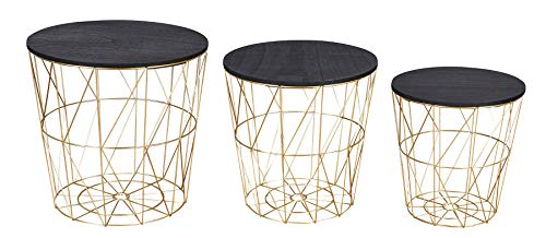 levandeo 3er Set Beistelltisch Metall Metallkorb Drahtkorb Gold Schwarz Couchtisch Deckel Aufbewahrung Design Deko Tisch