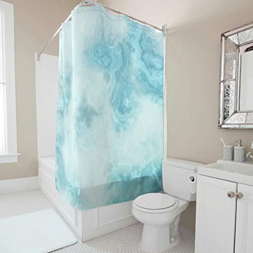 STELULI Cortina de ducha – estilo mármol textura humor tela cortina de bañera ganchos incluidos blanco 180 x 180 cm