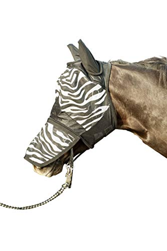HKM Fliegenschutzmaske -Zebra- mit Nüsternschutz, weiß/schwarz, Vollblut