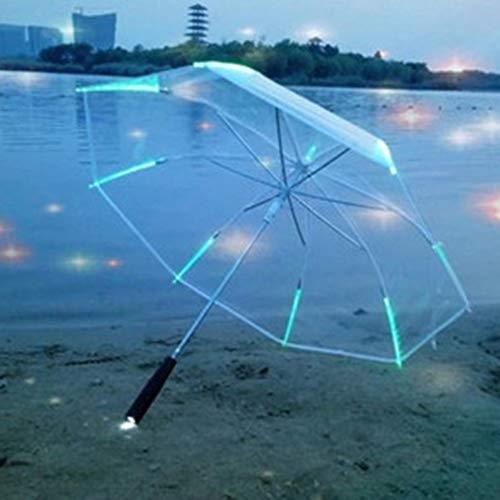 FMC LED-Licht Transparent Unbrella, Glänzende Regenschirme Partei Aktivität Requisiten mit Taschenlampe Langen Griff interessant Regenschirme Geschenk für Kinder