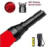 LUXJUMPER Rotlicht-Taschenlampe, 1000 Lumen Dimmbares rotes LED-Jagdlicht mit Intensitätsregelung Rheostat-Schalter Zoombares Predator-Licht Wasserdichte taktische Taschenlampe für Hog Fox Coyote