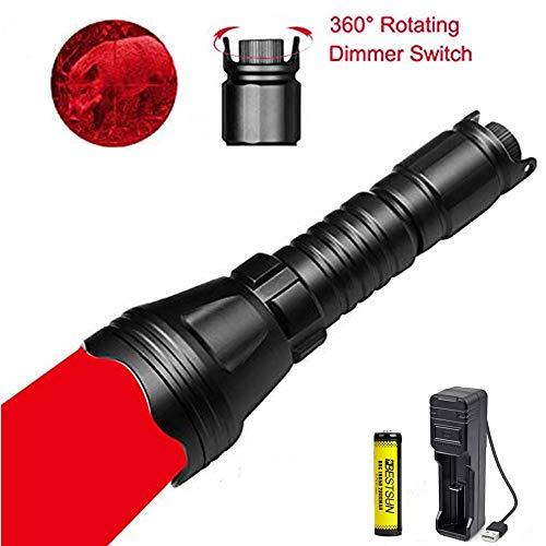 LUXJUMPER Jagd Taschenlampe, 1000 Lumen Dimmbares LED-Jagdlicht mit Intensitätsregelung Rheostat-Schalter Zoombares Predator-Licht Wasserdichte taktische Taschenlampe für Hog Fox Coyote (Rotlicht)